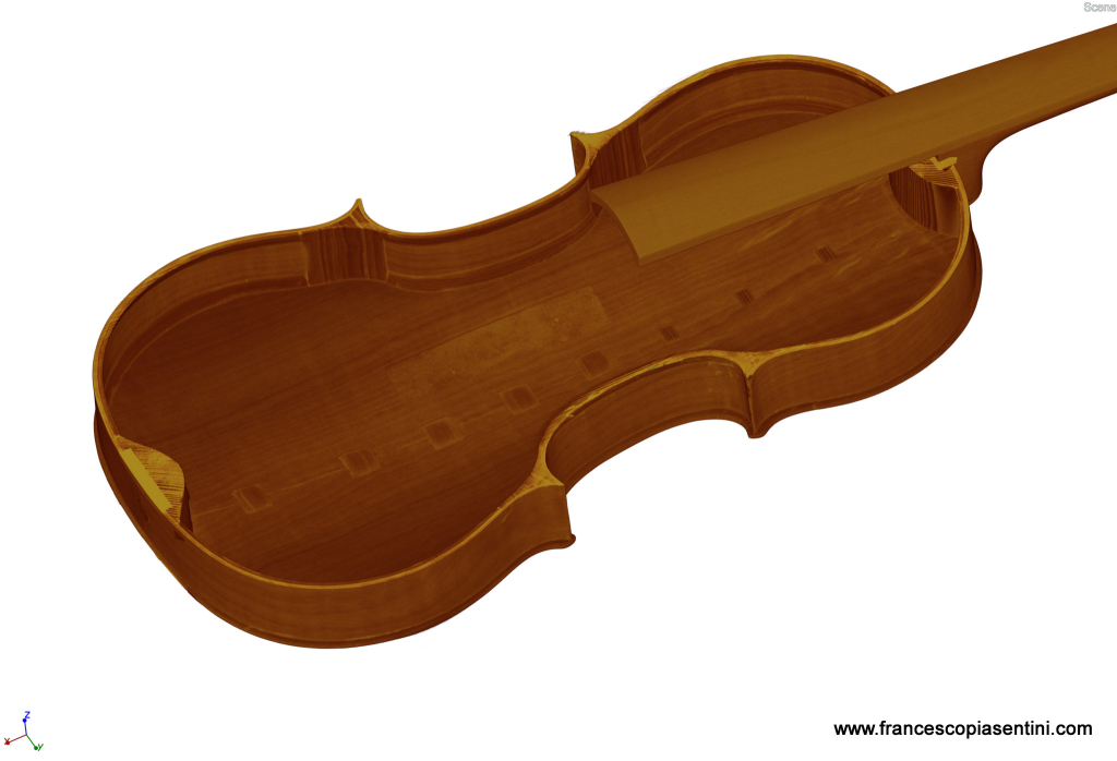 3D rendering of violin back and Ribs taken at Sideius by Francesco Piasentini