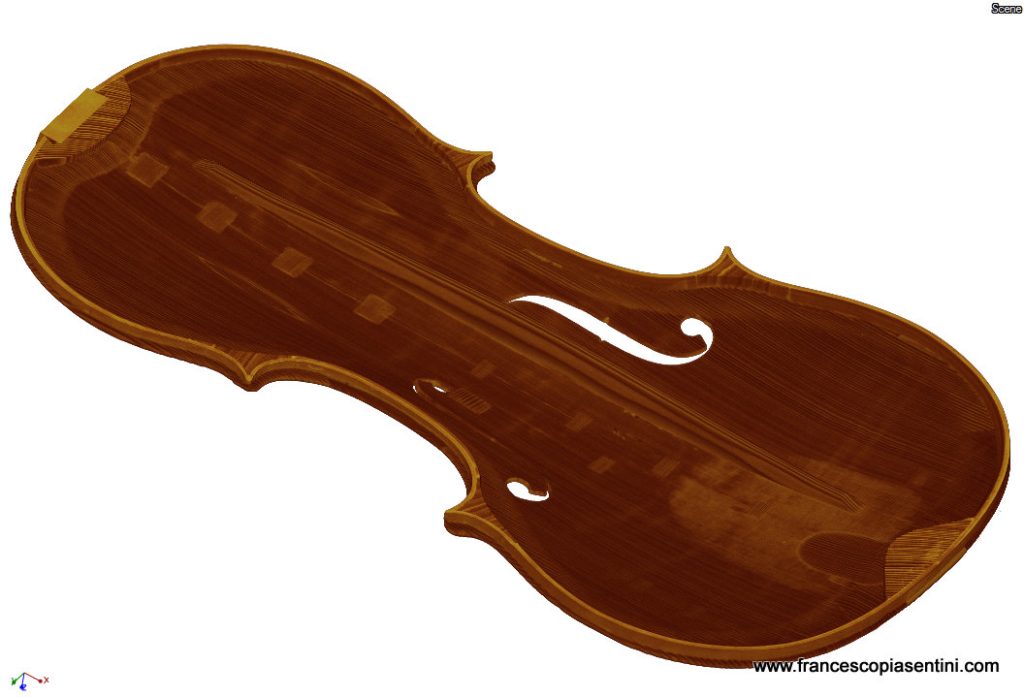 3D rendering of violin belly taken at Sideius by Francesco Piasentini